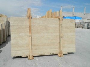 Vein cut light travertine slab honed filled finish (2)