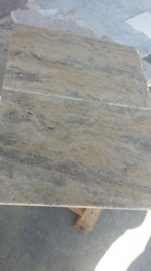 Vein cut silver travertine chiseled edge