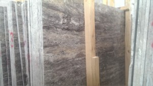 Vein cut silver travertine slab