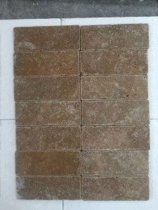 Noce travertine tumbled bricks