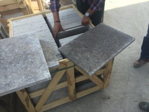 Cross cut silver travertine tumbled finish